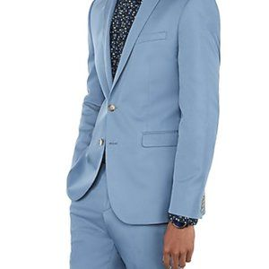 NEW Slim Light Blue Cotton-blend Stretch Suit Jack